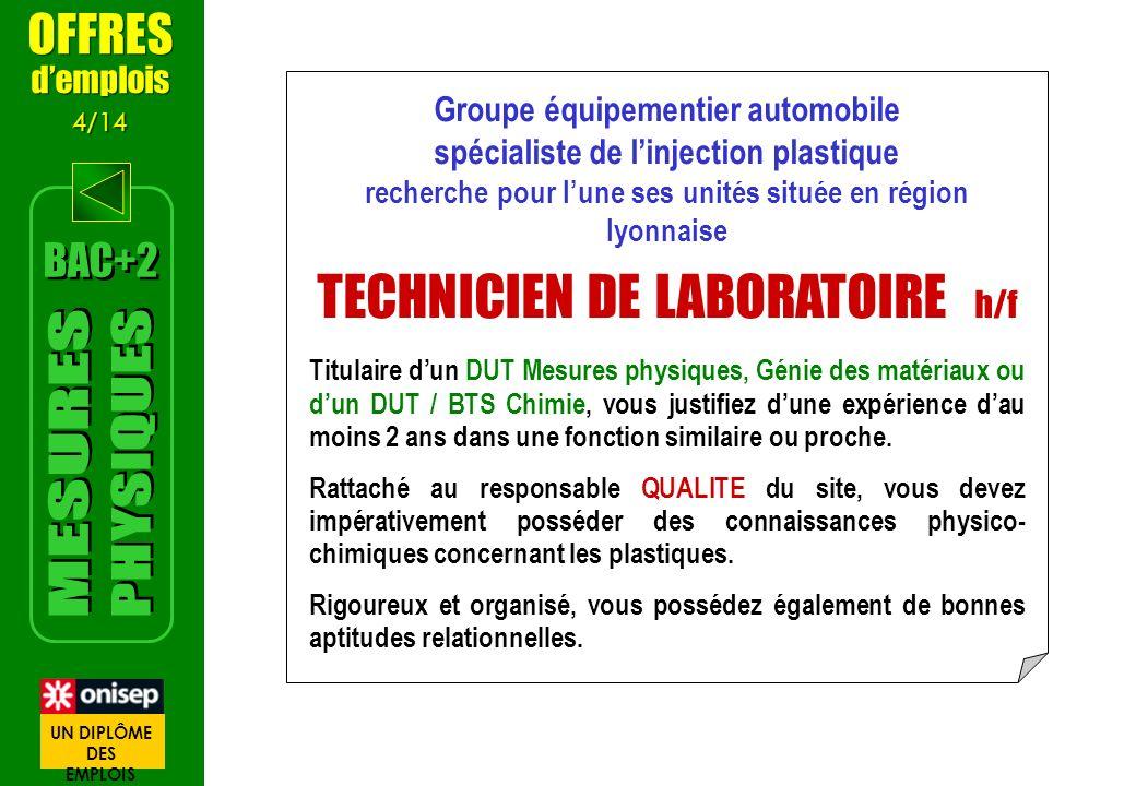 Groupe équipementier automobile spécialiste de linjection plastique recherche pour lune ses unités située en région lyonnaise TECHNICIEN DE LABORATOIR