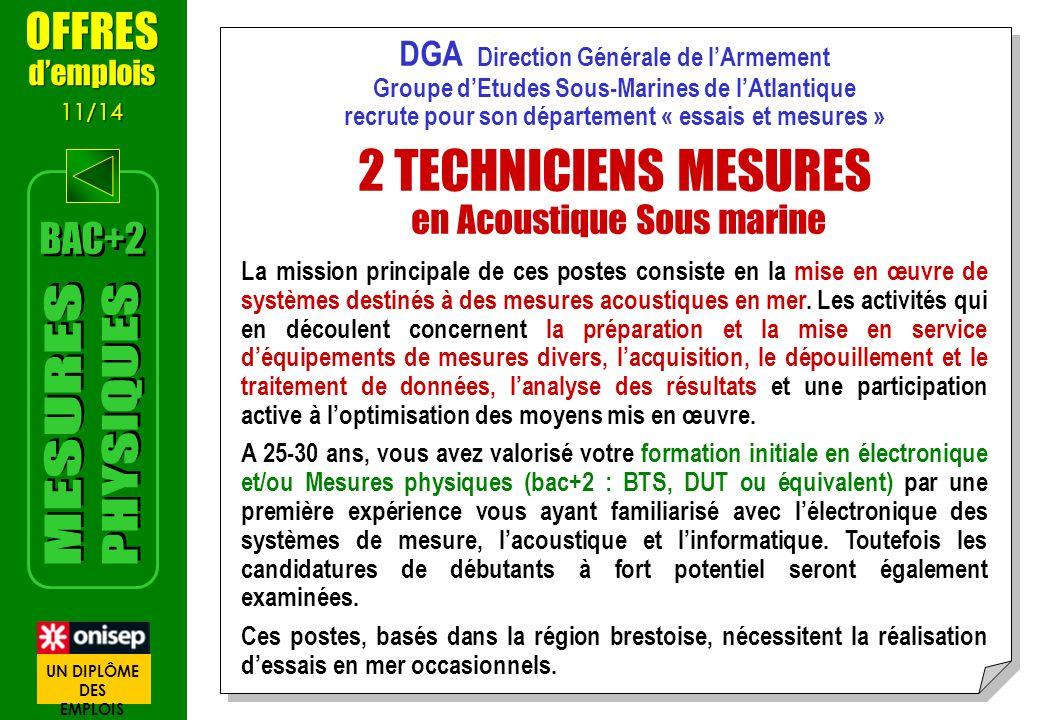 DGA Direction Générale de lArmement Groupe dEtudes Sous-Marines de lAtlantique recrute pour son département « essais et mesures » 2 TECHNICIENS MESURE