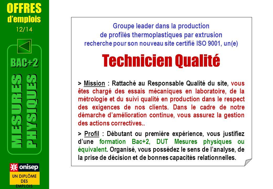 Groupe leader dans la production de profilés thermoplastiques par extrusion recherche pour son nouveau site certifié ISO 9001, un(e) Technicien Qualit