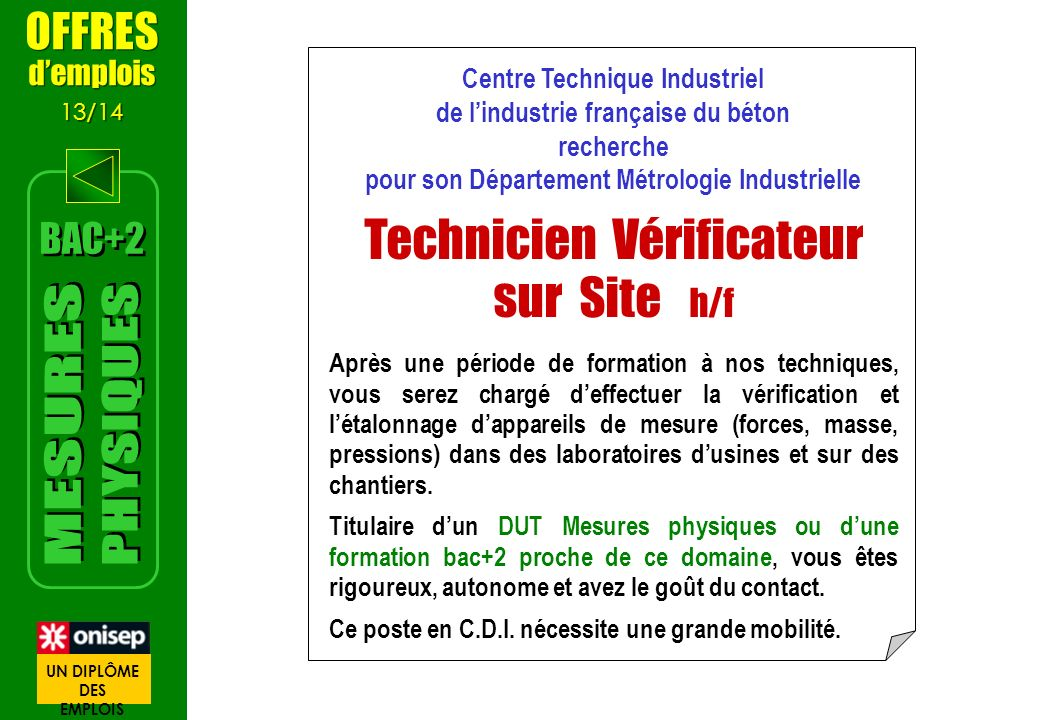 Centre Technique Industriel de lindustrie française du béton recherche pour son Département Métrologie Industrielle Technicien Vérificateur sur Site h