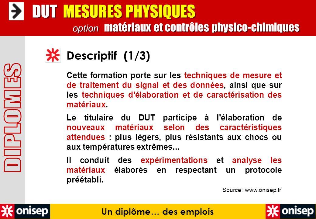 Source : www.onisep.fr Descriptif (1/3) Un diplôme… des emplois DUT MESURES PHYSIQUES option matériaux et contrôles physico-chimiques DUT MESURES PHYS