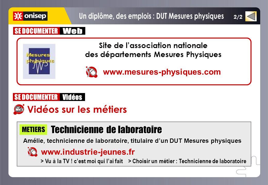 2/2 Vidéos sur les métiers Technicienne de laboratoire Amélie, technicienne de laboratoire, titulaire dun DUT Mesures physiques Technicienne de labora