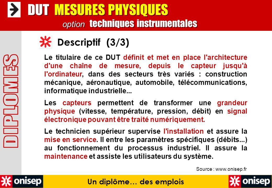 Source : www.onisep.fr Descriptif (3/3) Un diplôme… des emplois DUT MESURES PHYSIQUES option techniques instrumentales DUT MESURES PHYSIQUES option te