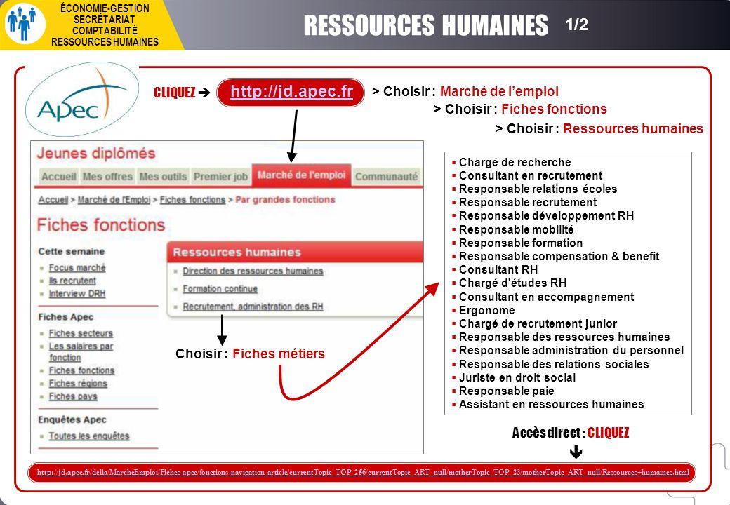 1/2 RESSOURCES HUMAINES Accès direct : CLIQUEZ http://jd.apec.fr/delia/MarcheEmploi/Fiches-apec/fonctions-navigation-article/currentTopic_TOP_256/curr