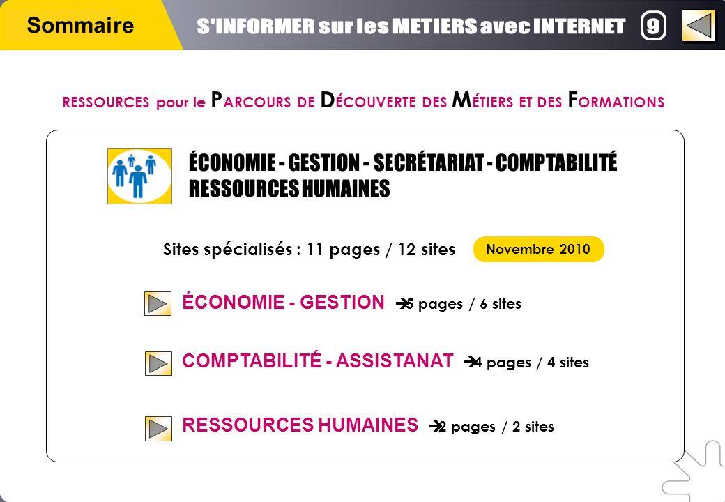 Sommaire ÉCONOMIE - GESTION 5 pages / 6 sites COMPTABILITÉ - ASSISTANAT 4 pages / 4 sites RESSOURCES HUMAINES 2 pages / 2 sites Sites spécialisés : 11