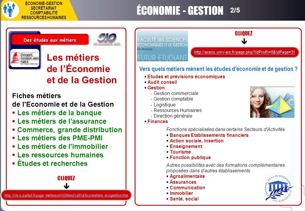Les métiers de lÉconomie et de la Gestion Fiches métiers de l'Economie et de la Gestion Les métiers de la banque Les métiers de l'assurance Commerce,