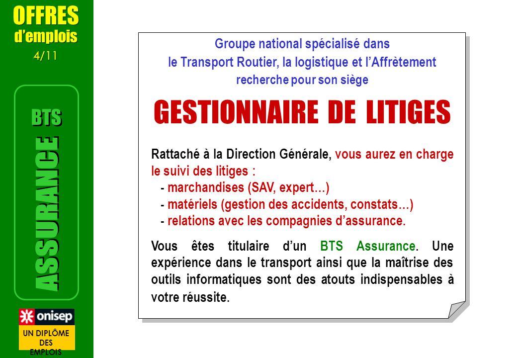 Groupe national spécialisé dans le Transport Routier, la logistique et lAffrètement recherche pour son siège GESTIONNAIRE DE LITIGES Rattaché à la Dir