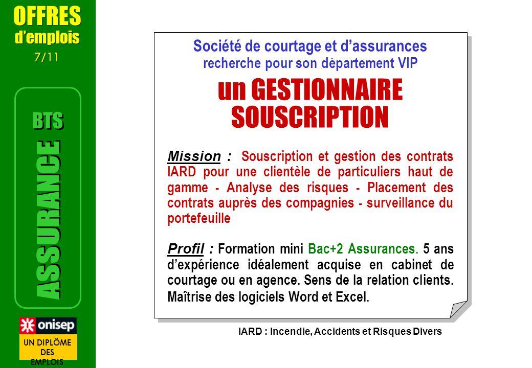 Société de courtage et dassurances recherche pour son département VIP un GESTIONNAIRE SOUSCRIPTION Mission : Souscription et gestion des contrats IARD