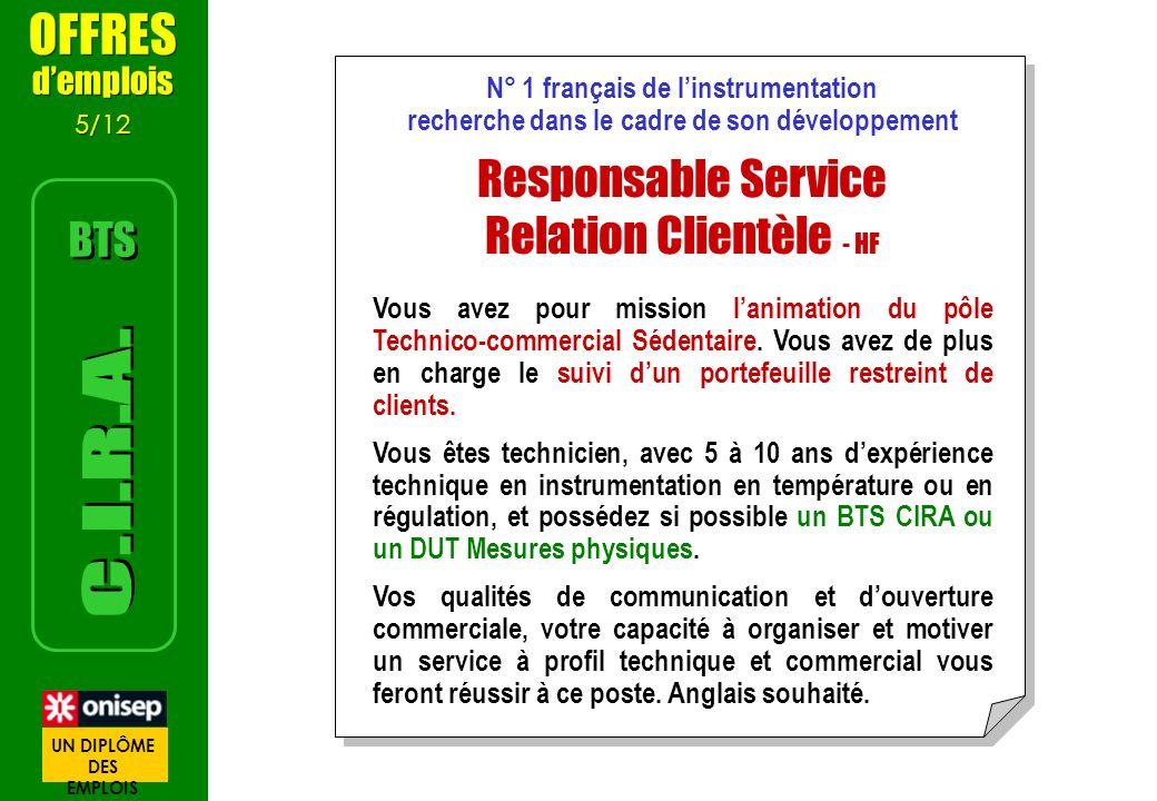 N° 1 français de linstrumentation recherche dans le cadre de son développement Responsable Service Relation Clientèle - HF Vous avez pour mission lani