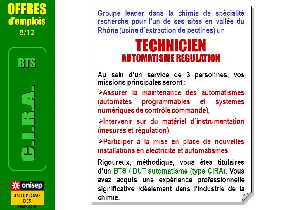 Groupe leader dans la chimie de spécialité recherche pour lun de ses sites en vallée du Rhône (usine dextraction de pectines) un TECHNICIEN AUTOMATISM