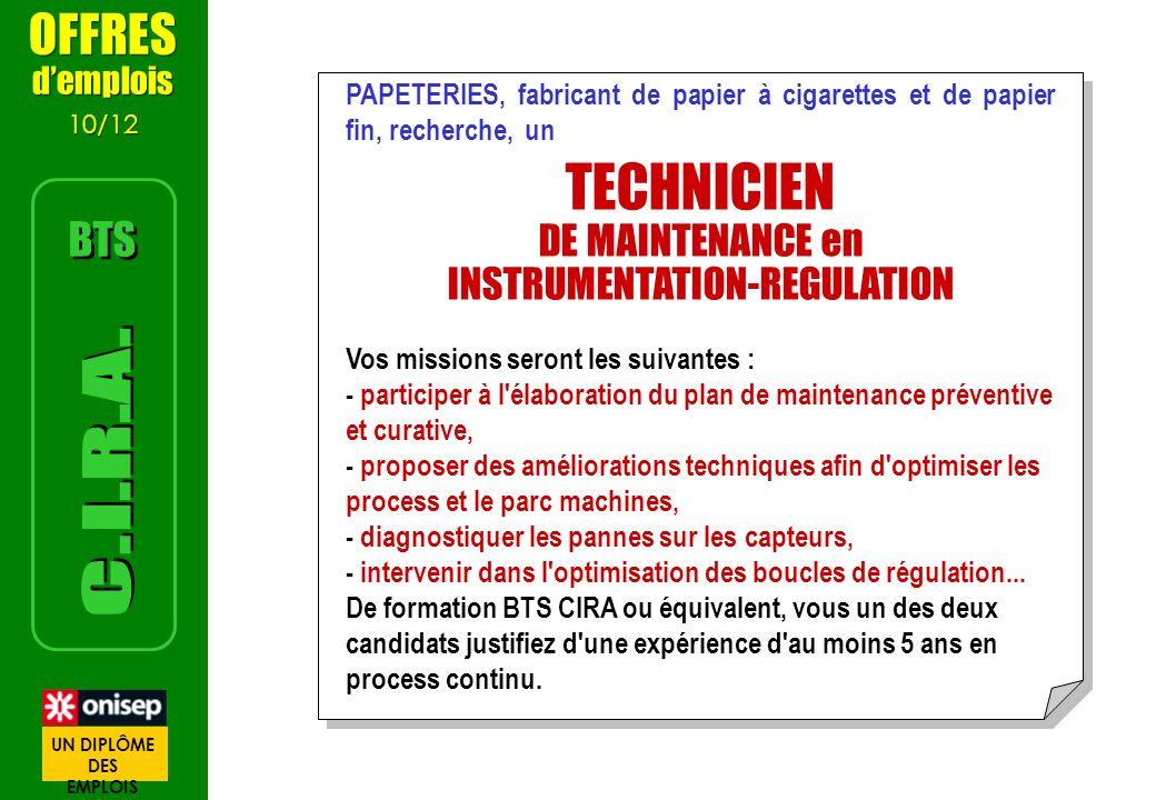 PAPETERIES, fabricant de papier à cigarettes et de papier fin, recherche, un TECHNICIEN DE MAINTENANCE en INSTRUMENTATION-REGULATION Vos missions sero