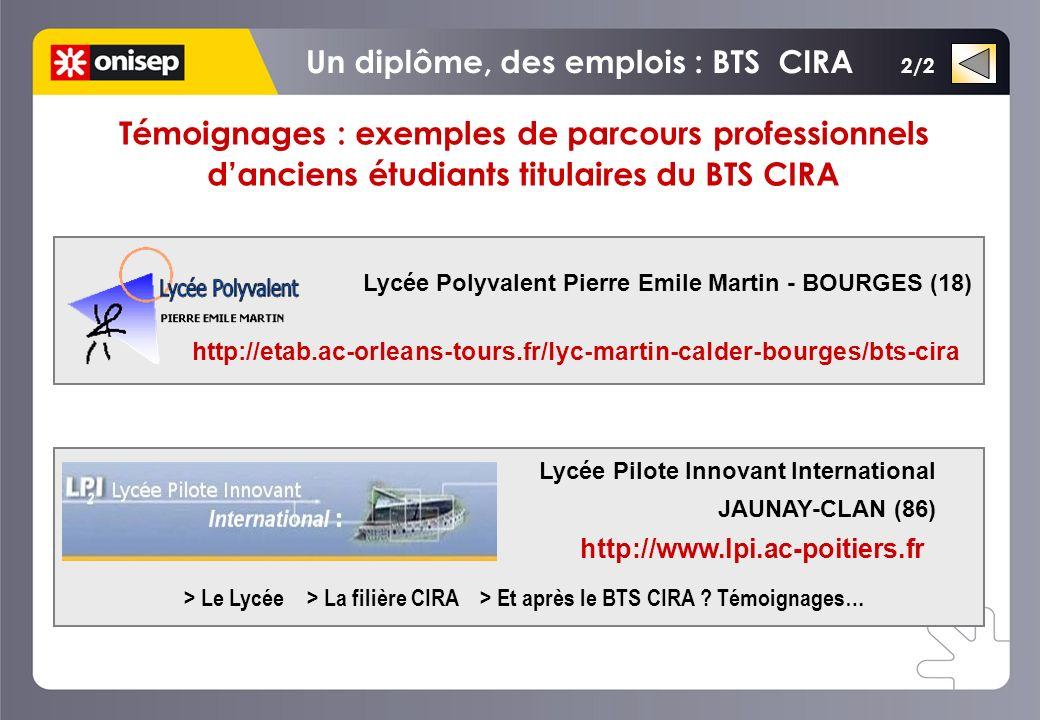 2/2 > Le Lycée > La filière CIRA > Et après le BTS CIRA ? Témoignages… Témoignages : exemples de parcours professionnels danciens étudiants titulaires