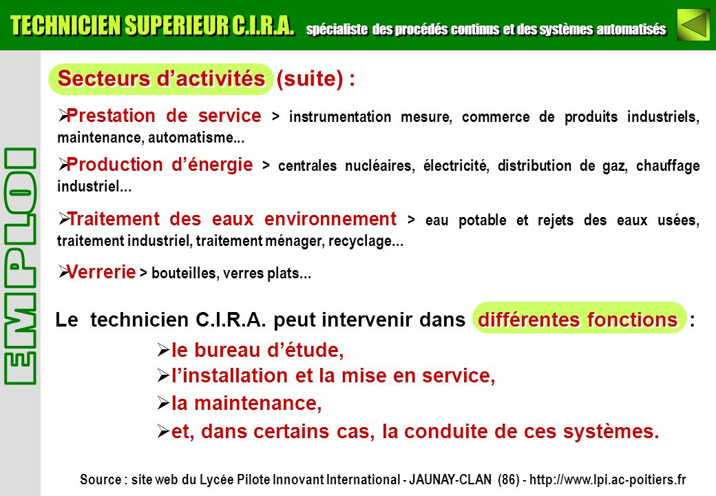 Secteurs dactivités (suite) : Prestation de service > instrumentation mesure, commerce de produits industriels, maintenance, automatisme... Production