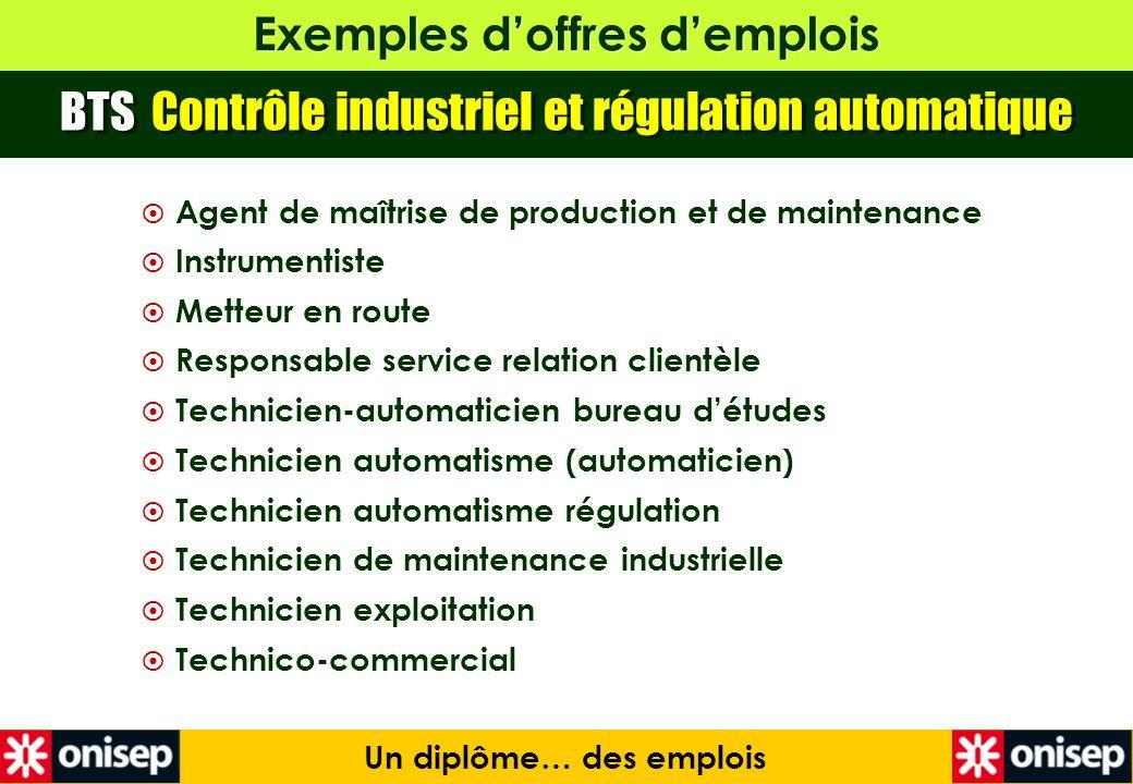 Exemples doffres demplois Un diplôme… des emplois BTS Contrôle industriel et régulation automatique Agent de maîtrise de production et de maintenance