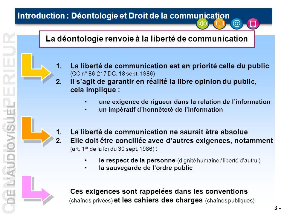 DE LAUDIOVISUEL - 3 - La déontologie renvoie à la liberté de communication Introduction : Déontologie et Droit de la communication 1.La liberté de communication est en priorité celle du public (CC n° 86-217 DC, 18 sept.