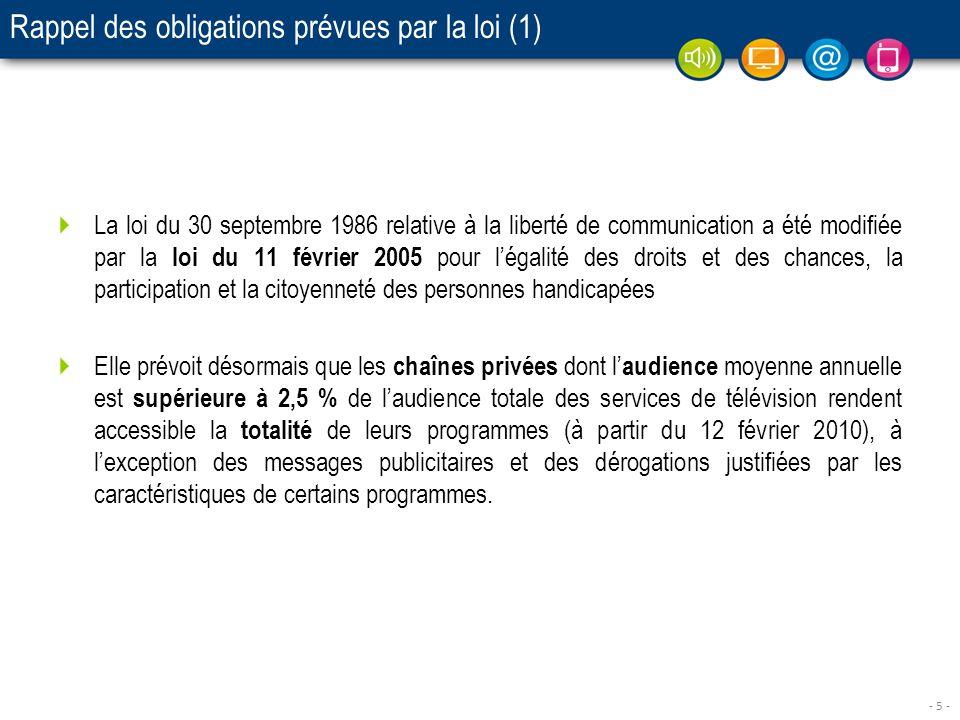 - 5 - Rappel des obligations prévues par la loi (1) La loi du 30 septembre 1986 relative à la liberté de communication a été modifiée par la loi du 11