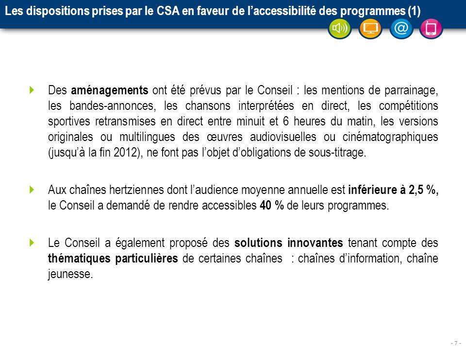 - 7 - Les dispositions prises par le CSA en faveur de laccessibilité des programmes (1) Des aménagements ont été prévus par le Conseil : les mentions