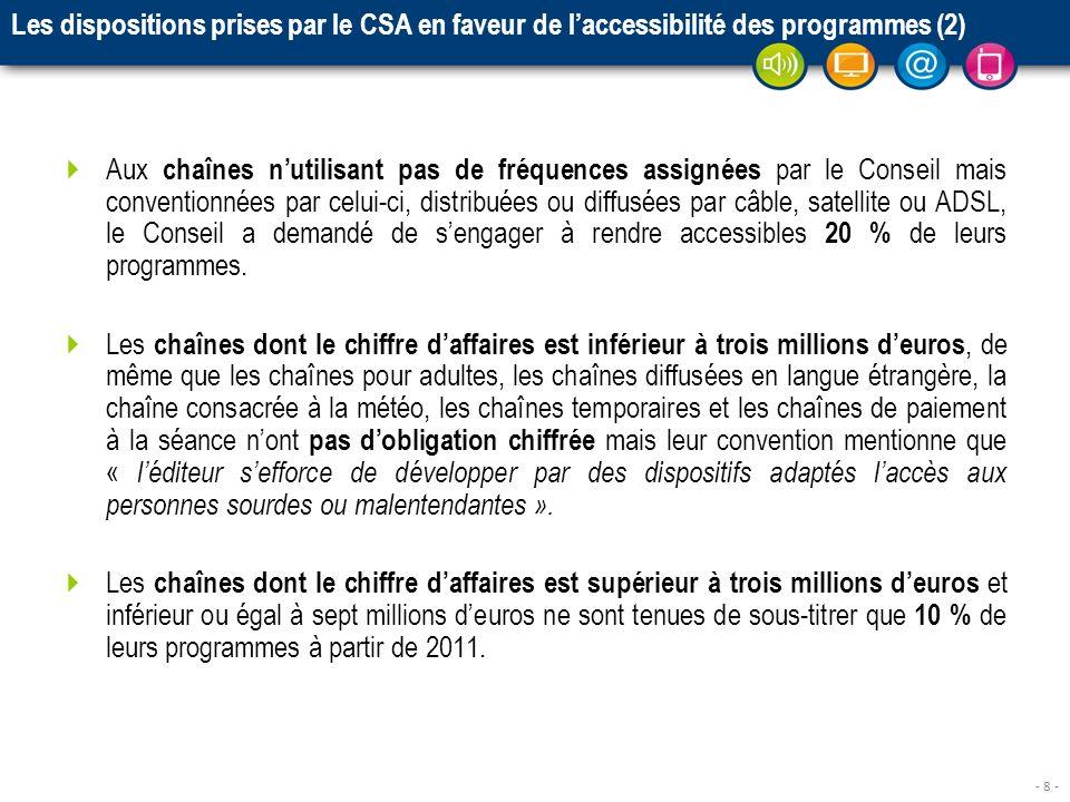 - 8 - Les dispositions prises par le CSA en faveur de laccessibilité des programmes (2) Aux chaînes nutilisant pas de fréquences assignées par le Cons