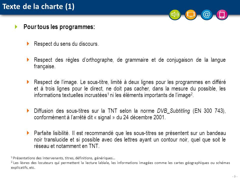 - 9 - Pour tous les programmes: Respect du sens du discours. Respect des règles dorthographe, de grammaire et de conjugaison de la langue française. R