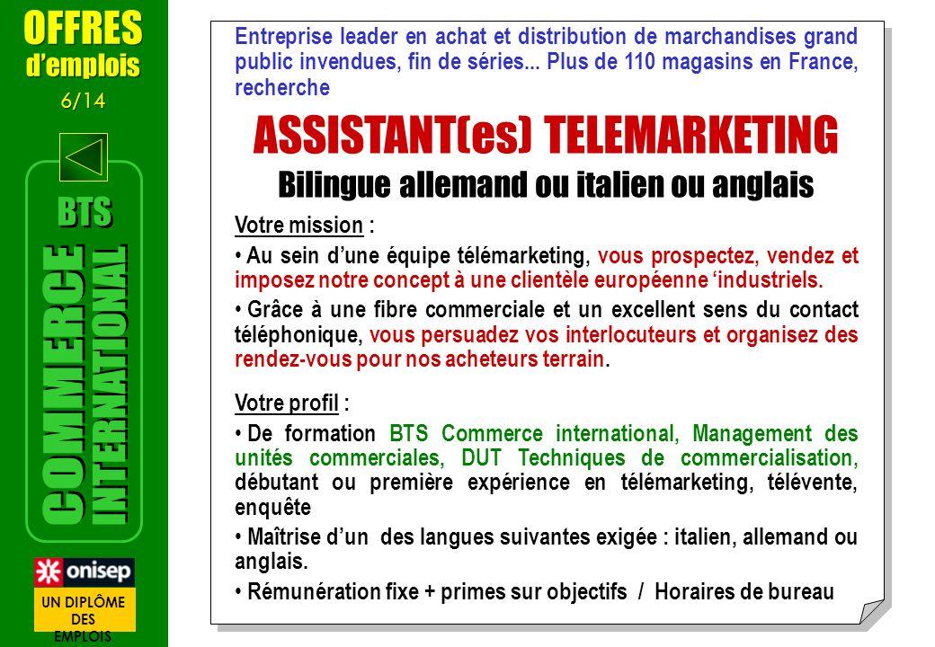 Entreprise leader en achat et distribution de marchandises grand public invendues, fin de séries... Plus de 110 magasins en France, recherche ASSISTAN