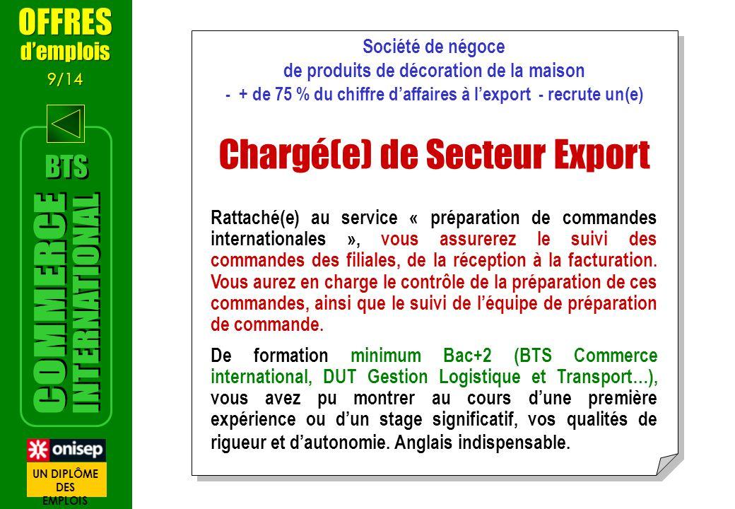 Société de négoce de produits de décoration de la maison - + de 75 % du chiffre daffaires à lexport - recrute un(e) Chargé(e) de Secteur Export Rattac