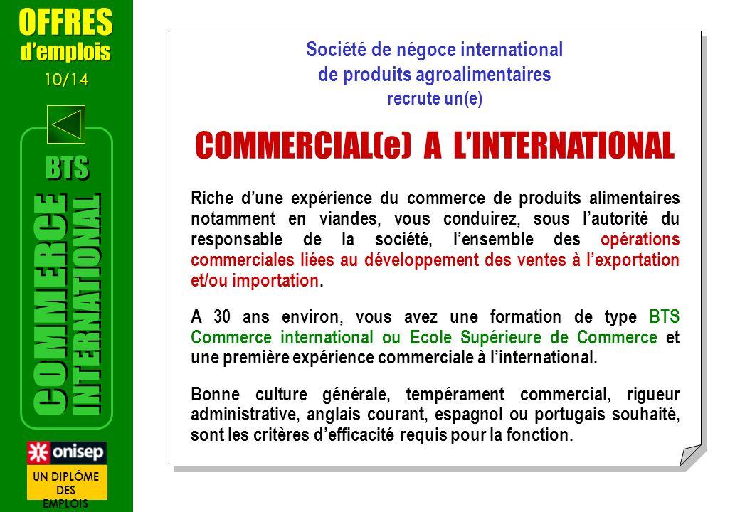 Société de négoce international de produits agroalimentaires recrute un(e) COMMERCIAL(e) A LINTERNATIONAL Riche dune expérience du commerce de produit