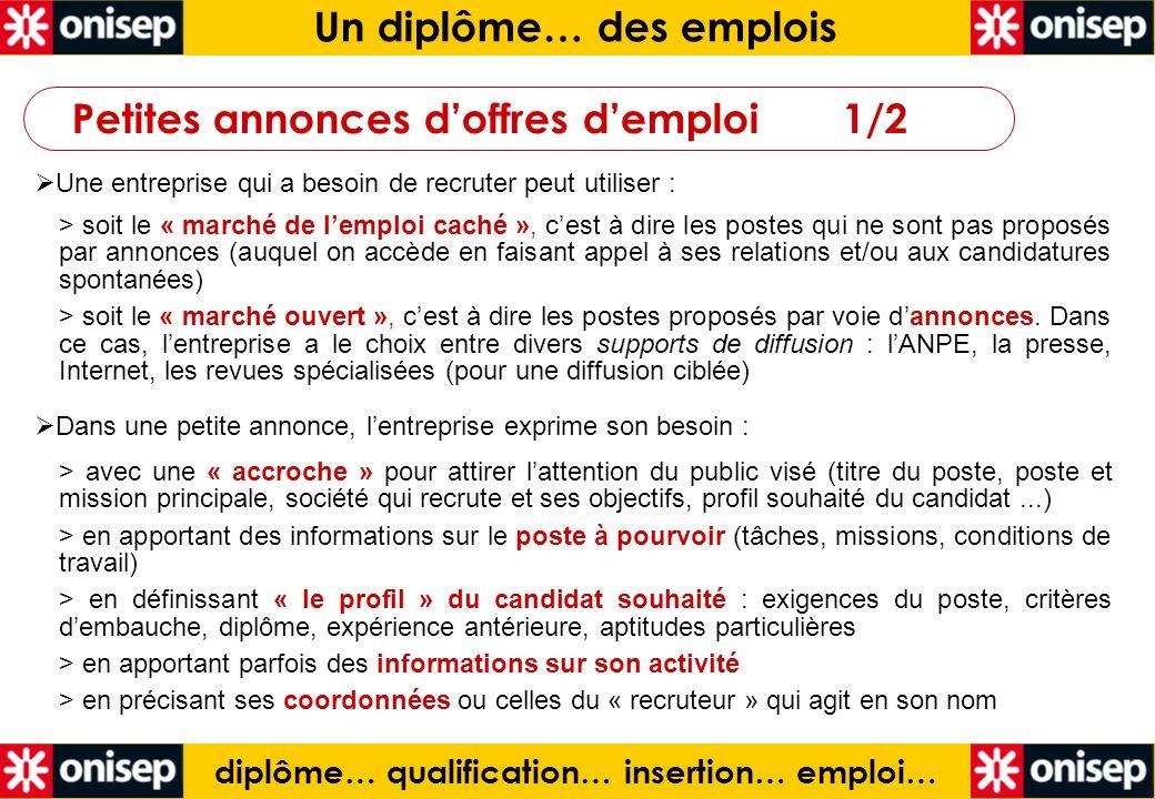 diplôme… qualification… insertion… emploi… Un diplôme… des emplois Une entreprise qui a besoin de recruter peut utiliser : > soit le « marché de lempl