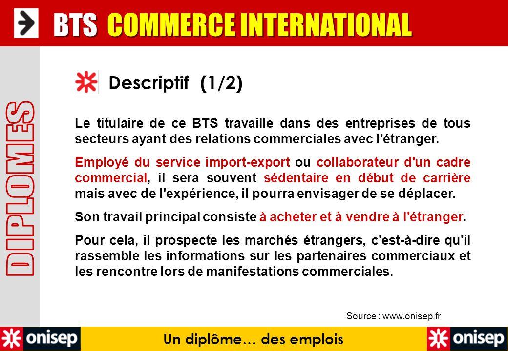 Source : www.onisep.fr Descriptif (1/2) Un diplôme… des emplois Le titulaire de ce BTS travaille dans des entreprises de tous secteurs ayant des relat