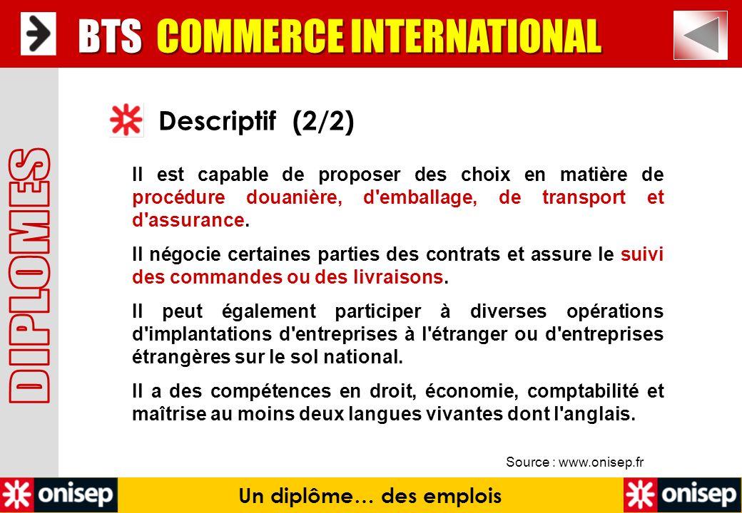 Source : www.onisep.fr Descriptif (2/2) BTS COMMERCE INTERNATIONAL Un diplôme… des emplois Il est capable de proposer des choix en matière de procédur