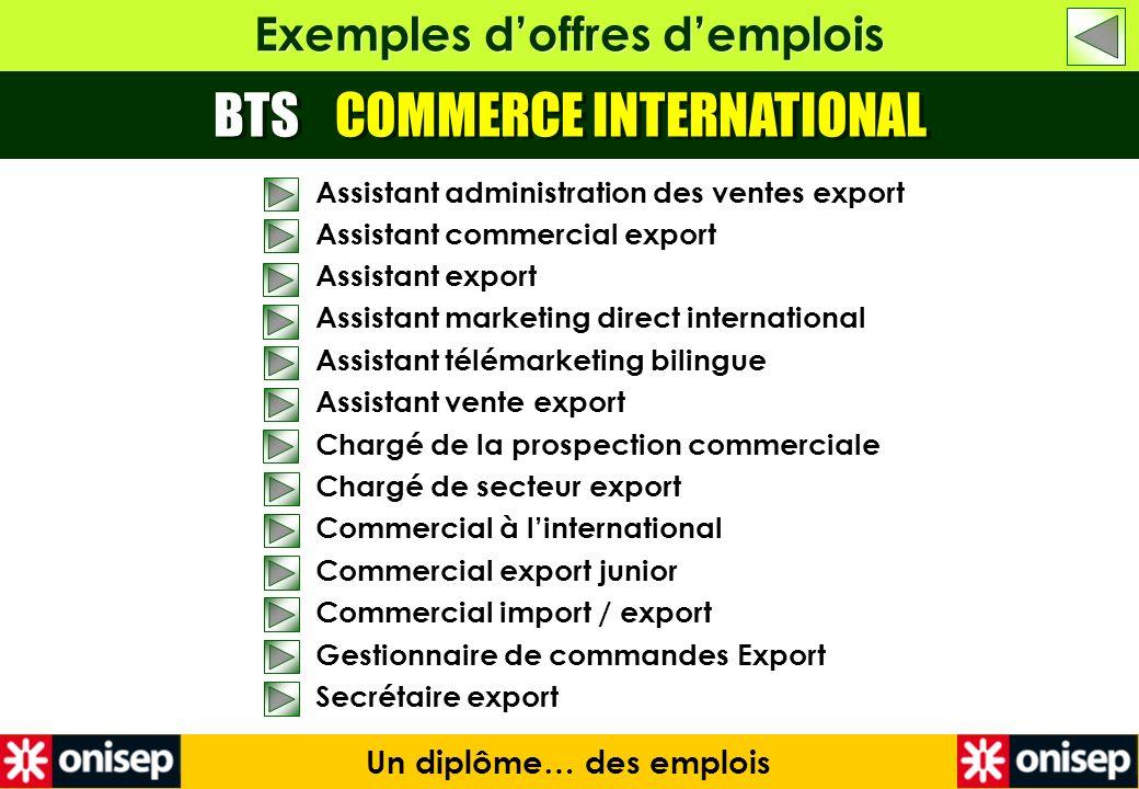 Exemples doffres demplois BTS COMMERCE INTERNATIONAL Un diplôme… des emplois Assistant administration des ventes export Assistant commercial export As