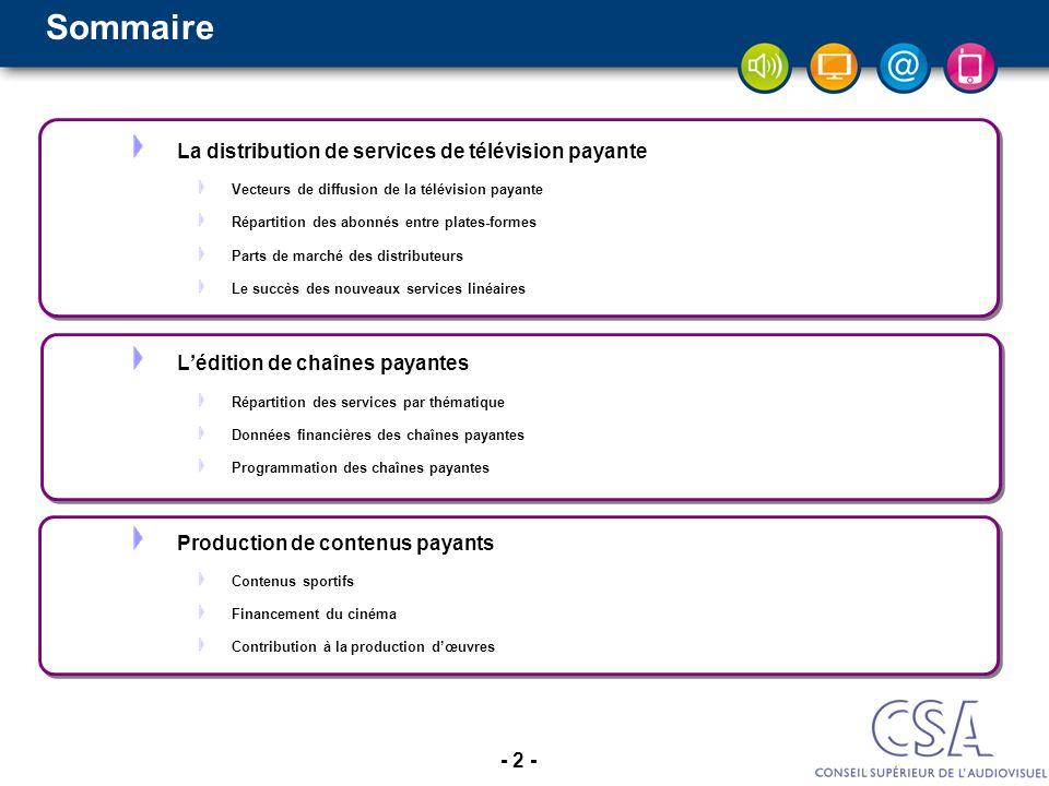 - 2 - Sommaire La distribution de services de télévision payante Vecteurs de diffusion de la télévision payante Répartition des abonnés entre plates-f