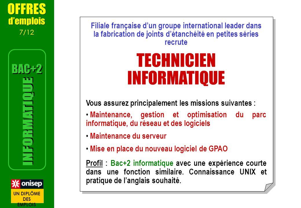 Filiale française dun groupe international leader dans la fabrication de joints détanchéité en petites séries recrute TECHNICIEN INFORMATIQUE Vous ass