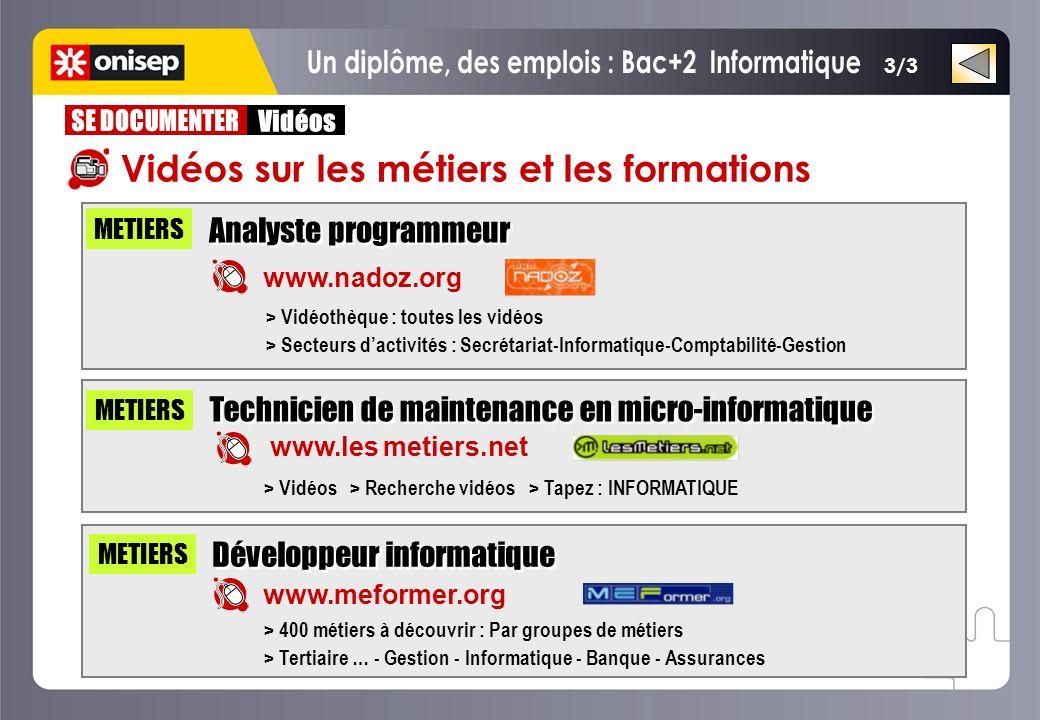 3/3 Analyste programmeur www.nadoz.org METIERS www.les metiers.net Technicien de maintenance en micro-informatique > Vidéothèque : toutes les vidéos >