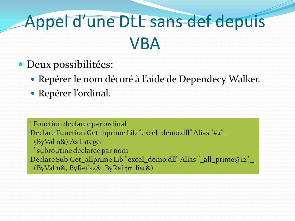 Appel dune DLL sans def depuis VBA Deux possibilitées: Repérer le nom décoré à laide de Dependecy Walker. Repérer lordinal. ' Fonction declaree par or
