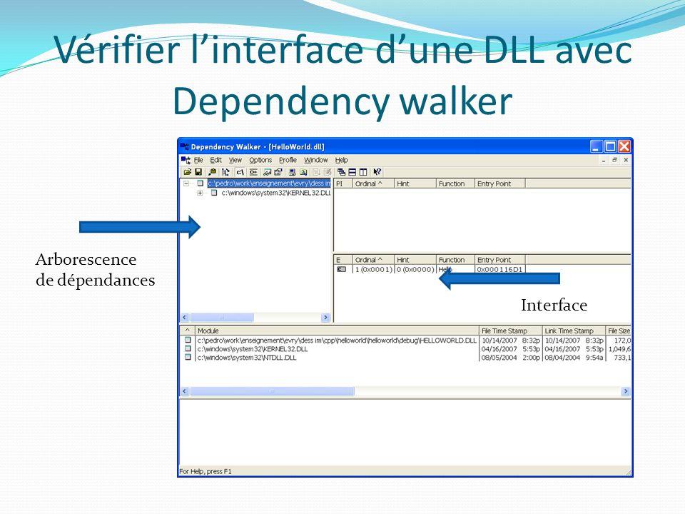 Vérifier linterface dune DLL avec Dependency walker Arborescence de dépendances Interface