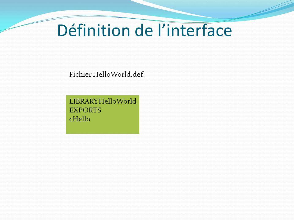 Définition de linterface LIBRARYHelloWorld EXPORTS cHello Fichier HelloWorld.def