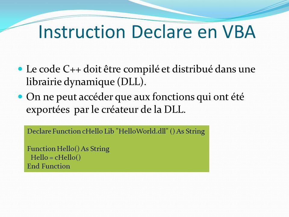 Instruction Declare en VBA Le code C++ doit être compilé et distribué dans une librairie dynamique (DLL). On ne peut accéder que aux fonctions qui ont