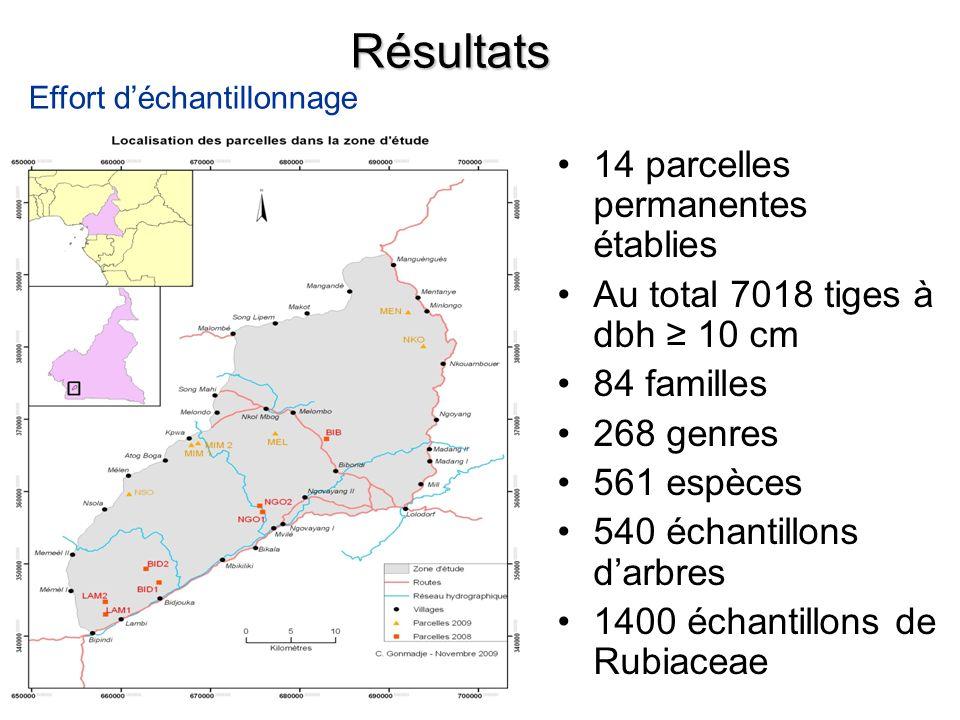 Résultats 14 parcelles permanentes établies Au total 7018 tiges à dbh 10 cm 84 familles 268 genres 561 espèces 540 échantillons darbres 1400 échantill