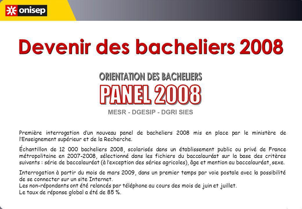Première interrogation dun nouveau panel de bacheliers 2008 mis en place par le ministère de lEnseignement supérieur et de la Recherche. Échantillon d