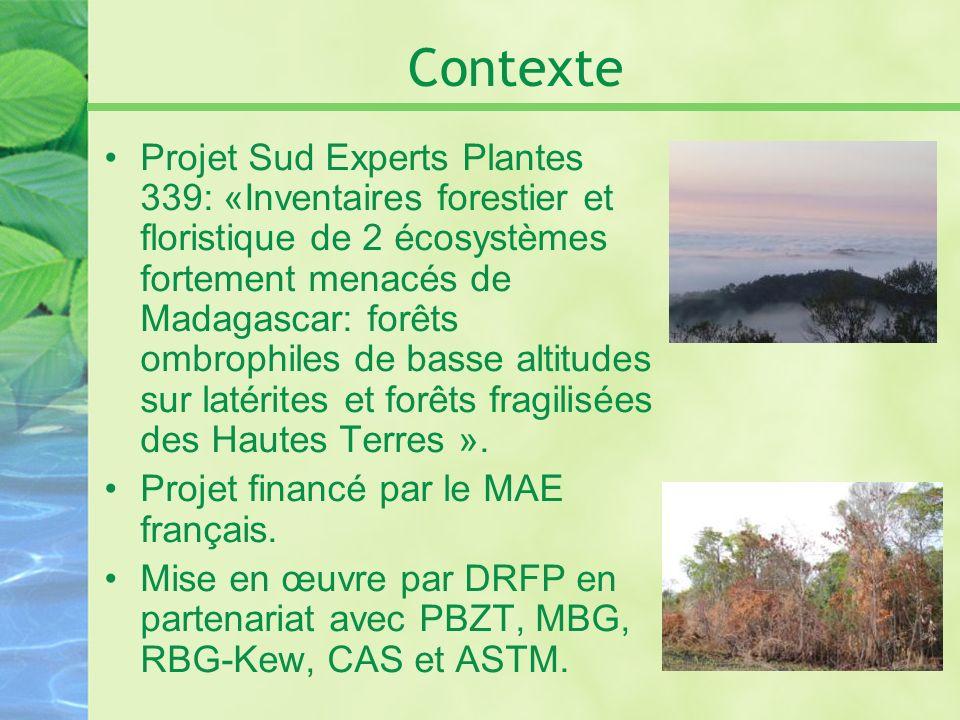 Contexte Projet Sud Experts Plantes 339: «Inventaires forestier et floristique de 2 écosystèmes fortement menacés de Madagascar: forêts ombrophiles de