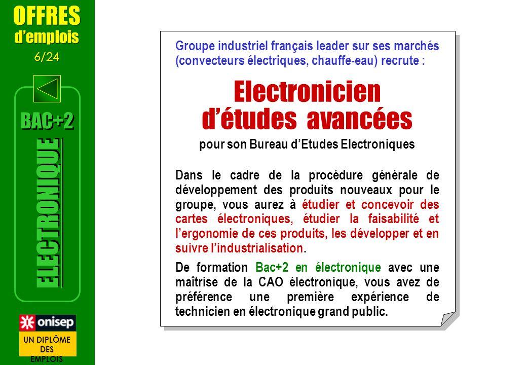 Groupe industriel français leader sur ses marchés (convecteurs électriques, chauffe-eau) recrute : Electronicien détudes avancées pour son Bureau dEtu