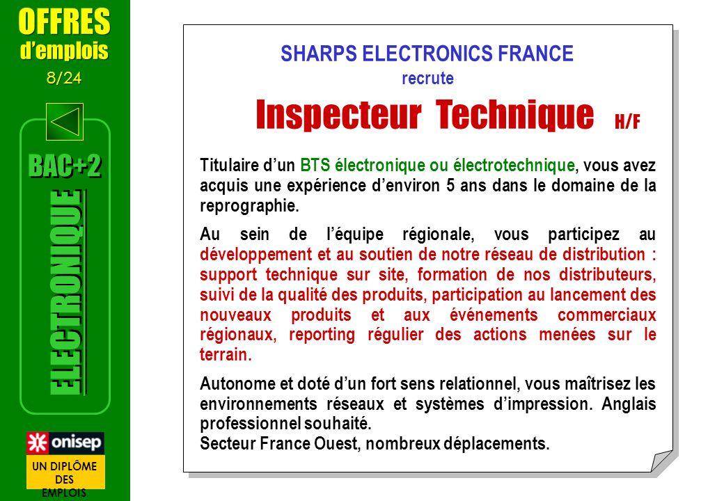 SHARPS ELECTRONICS FRANCE recrute Inspecteur Technique H/F Titulaire dun BTS électronique ou électrotechnique, vous avez acquis une expérience denviro