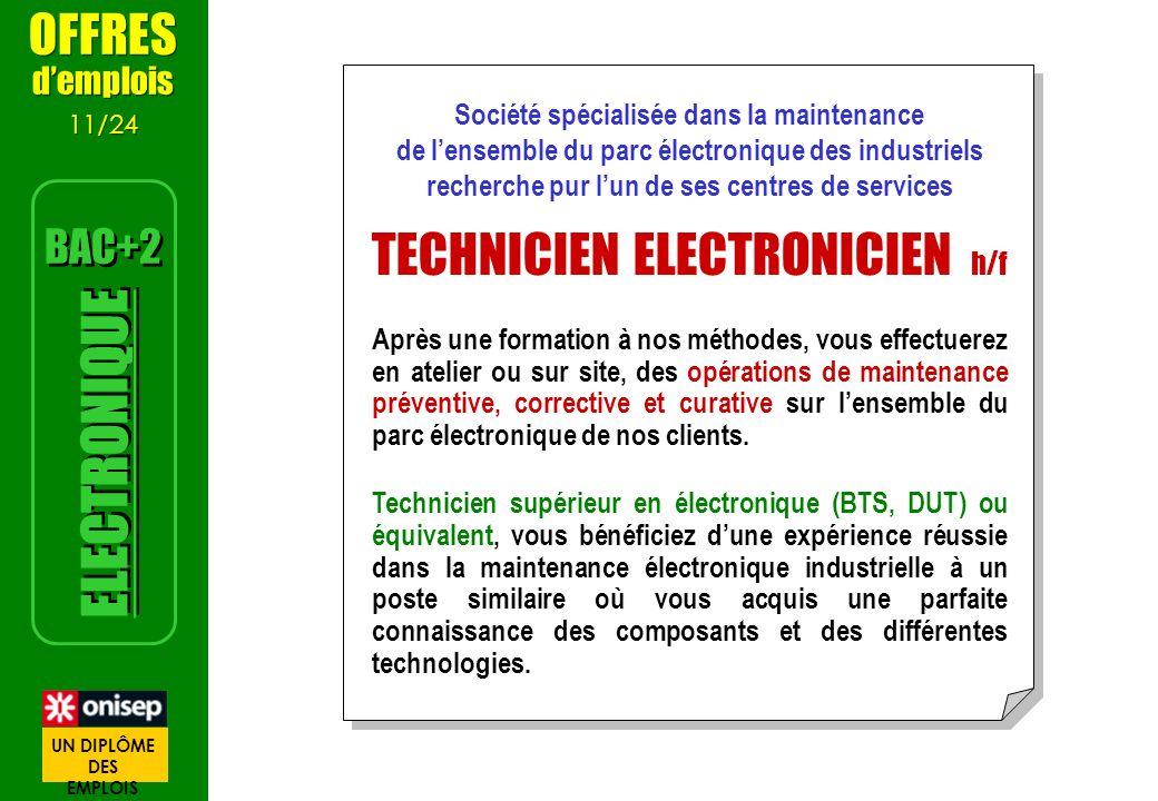 Société spécialisée dans la maintenance de lensemble du parc électronique des industriels recherche pur lun de ses centres de services TECHNICIEN ELEC