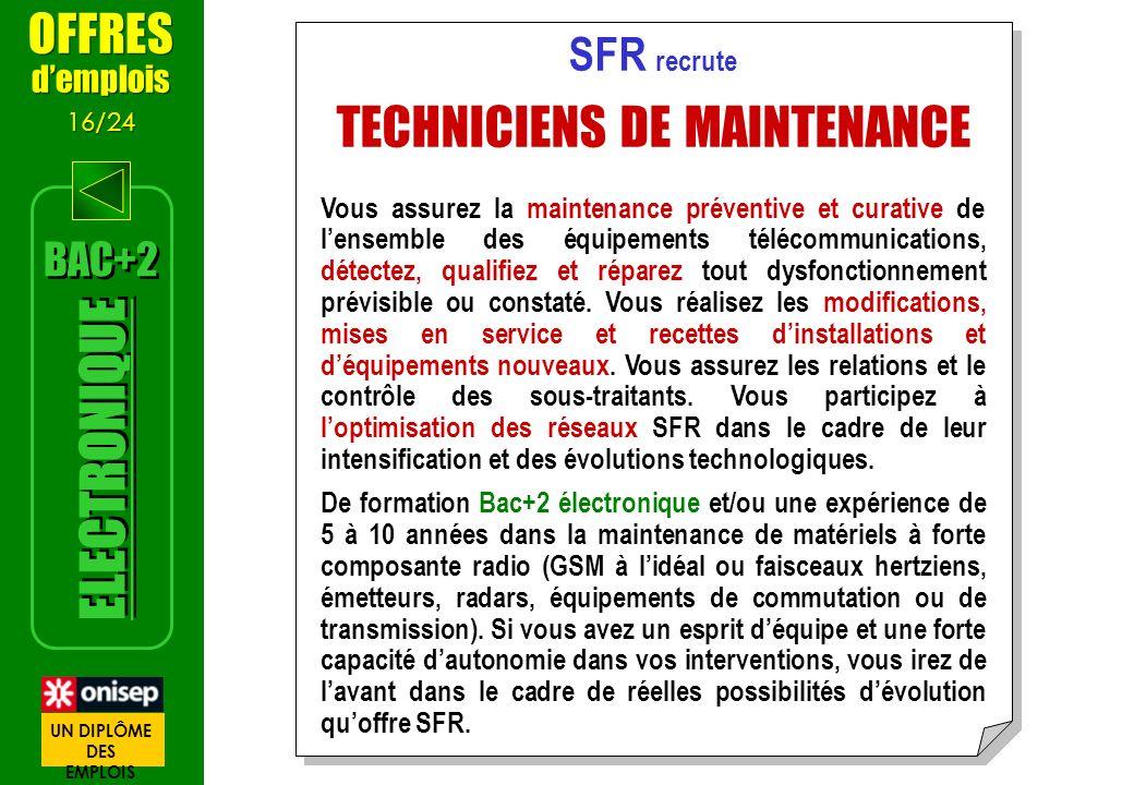 SFR recrute TECHNICIENS DE MAINTENANCE Vous assurez la maintenance préventive et curative de lensemble des équipements télécommunications, détectez, q