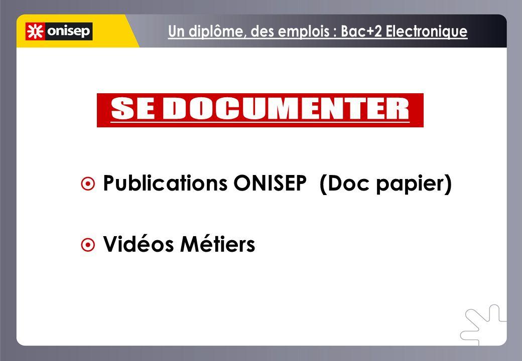 Publications ONISEP (Doc papier) Vidéos Métiers Publications ONISEP (Doc papier) Vidéos Métiers