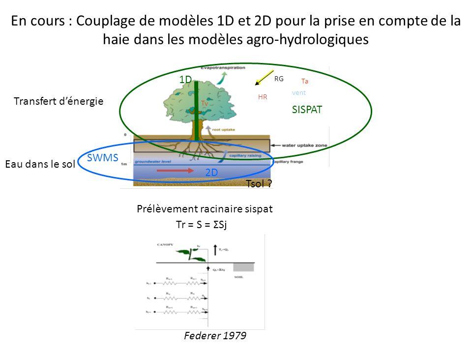 En cours : Couplage de modèles 1D et 2D pour la prise en compte de la haie dans les modèles agro-hydrologiques vent Tv RG HR SISPAT SWMS Tsol ? Ta 1D