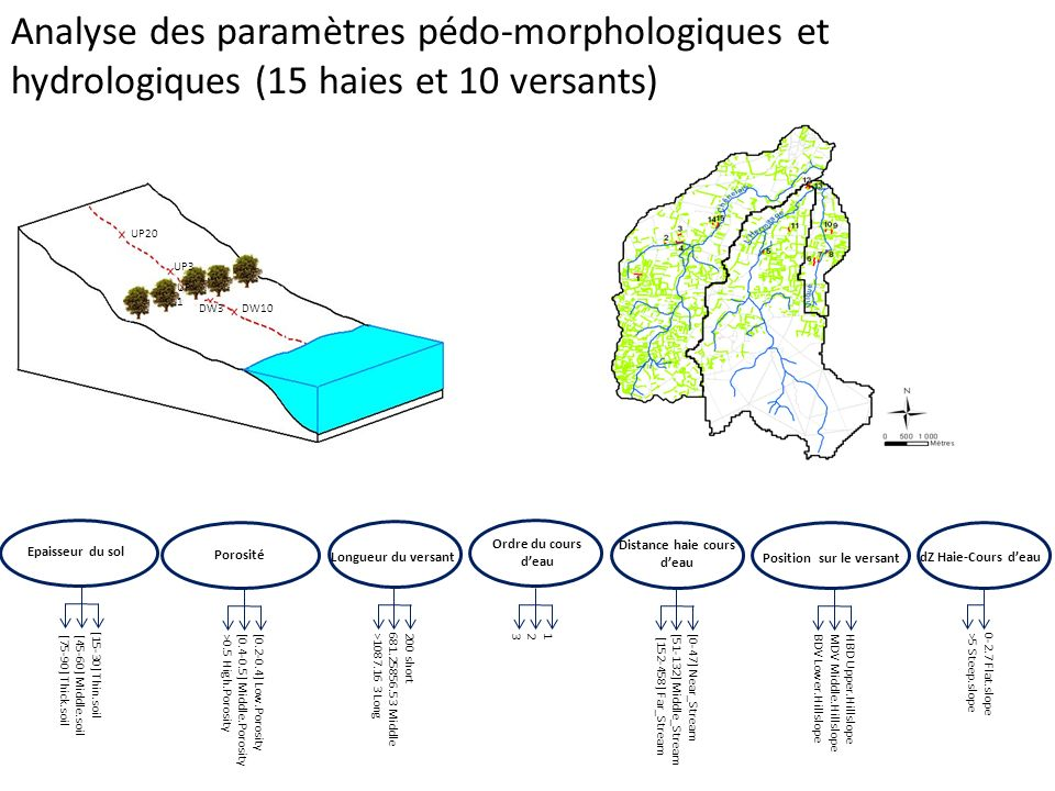 Analyse des paramètres pédo-morphologiques et hydrologiques (15 haies et 10 versants) UP20 UP3 UP 1 DW3DW10 Epaisseur du sol [15-30] Thin.soil [45-60]