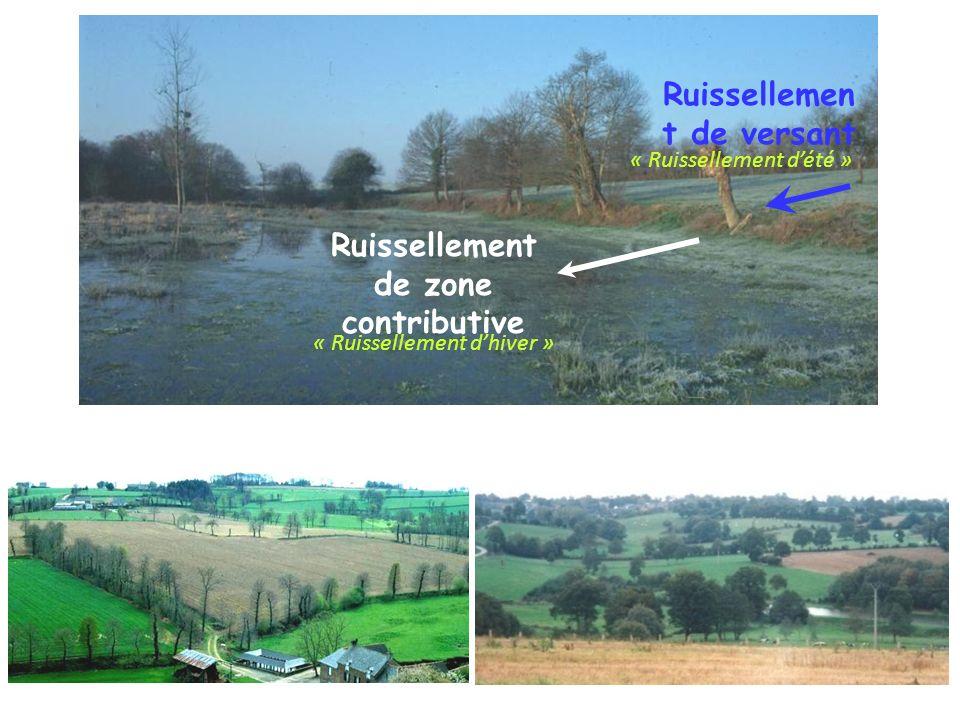 Ruissellemen t de versant Ruissellement de zone contributive « Ruissellement dhiver » « Ruissellement dété »