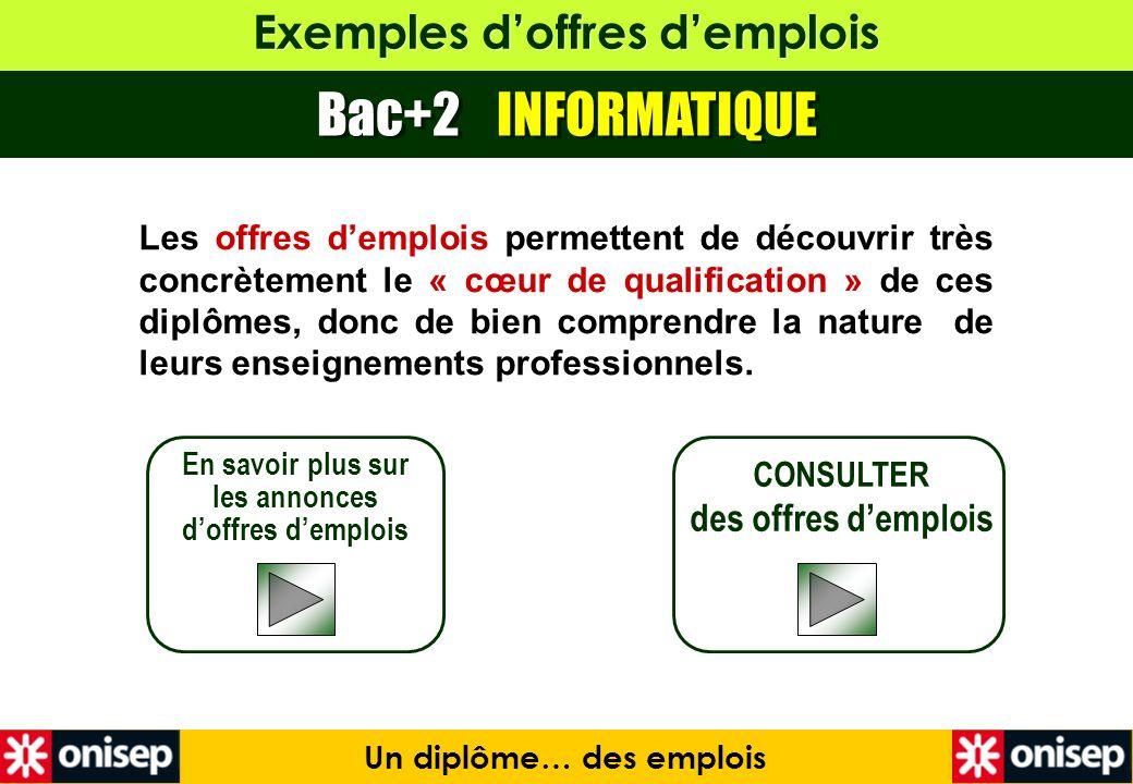 Exemples doffres demplois Bac+2 INFORMATIQUE En savoir plus sur les annonces doffres demplois CONSULTER des offres demplois Un diplôme… des emplois Le