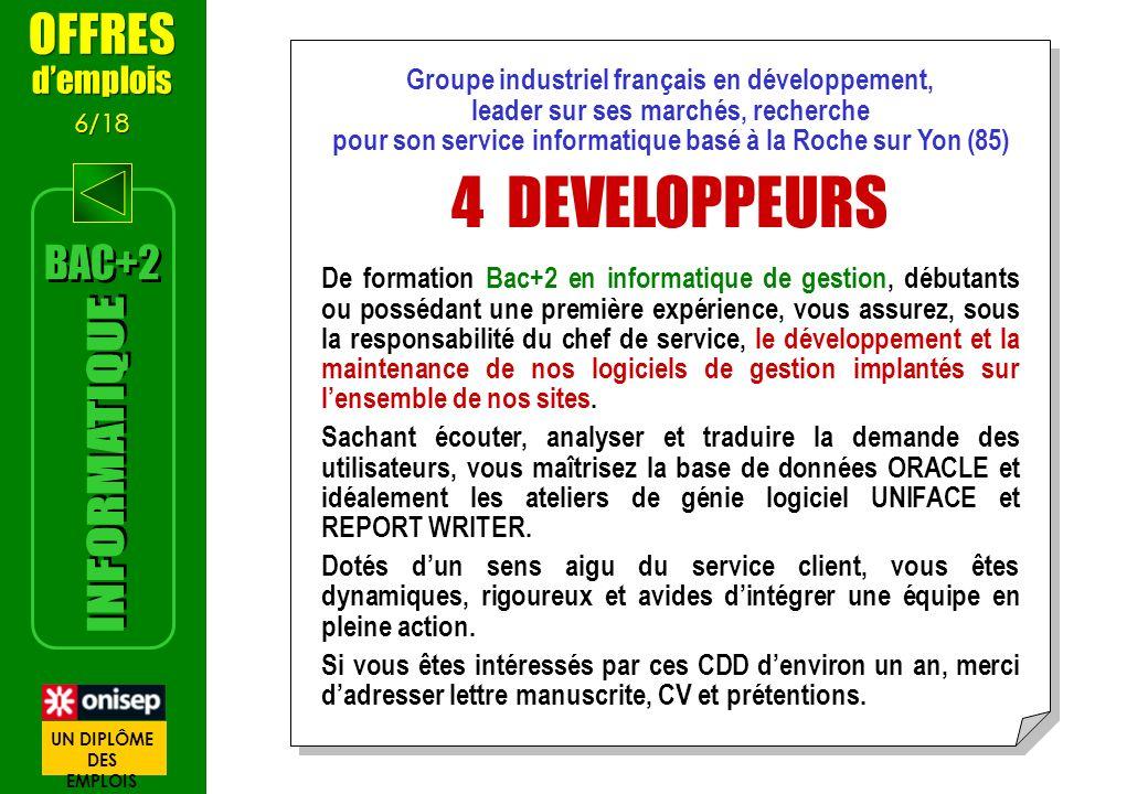 Groupe industriel français en développement, leader sur ses marchés, recherche pour son service informatique basé à la Roche sur Yon (85) 4 DEVELOPPEU